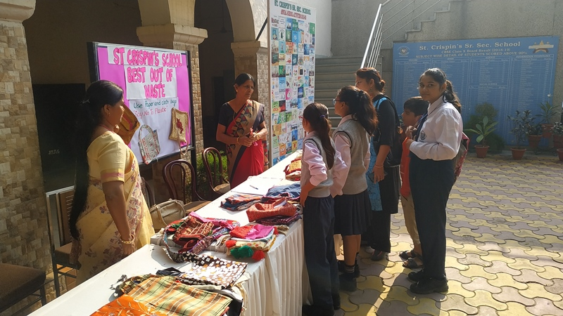 Say No to Plastic (Our drive to motivate students and parents to use paper and cloths bags was conducted in the school. An exhibition of cloths bags made by students and parents was organised on 16.11.2019 in the during the Parent Teacher Meeting.)